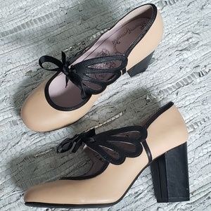 Jellypop two tone lace up maryjane heels